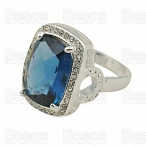 AVON-Large-Square-Regal-Ring-London-Blue-Topaz-Rhinestone-Crystal-Silver-Fashion