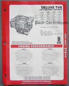 1981 tecumseh engine rtry mower specs brochure deluxe tvs 75 90 105 rh ebay com Lawn Chief Lawn Mower Lawn Mower Tecumseh Gasket Kits