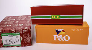 LGB-Lehmann-Gross-Bahn-P-amp-O-Shipping-Containers-Set-Yellow-Red-MINT