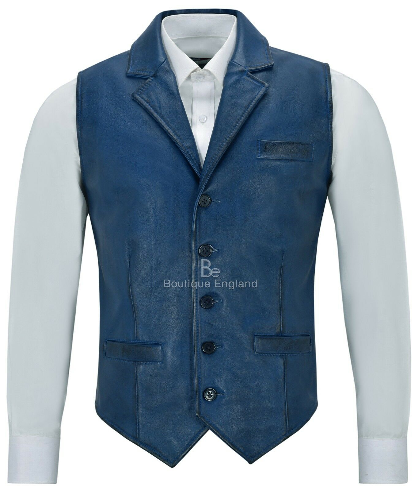 Men Real Leder Waistcoat Blau Napa Party Fashion Casual Geschäft Vest 1349