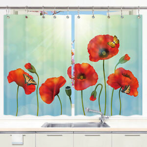 Window Drapes 2 Panels Short Kitchen Curtains Set Red Poppies Flower Butterfly Ebay