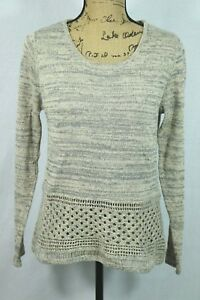 Stich-Fix-Skies-Are-Blue-100-Cotton-Sweater-Size-Medium-Open-Knit-Crochet-Top