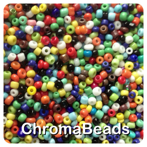 100g MIXED OPAQUE glass seed beads choose size 6//0 4, 3 or 2mm 8//0 or 11//0