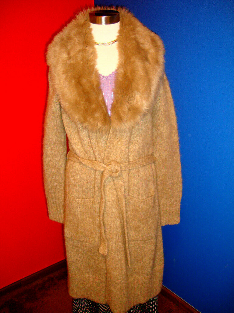 STYLISH LUXURIOUS MOHAIR COAT CARDIGAN SWEATER WITH FAUX FUR SZ M