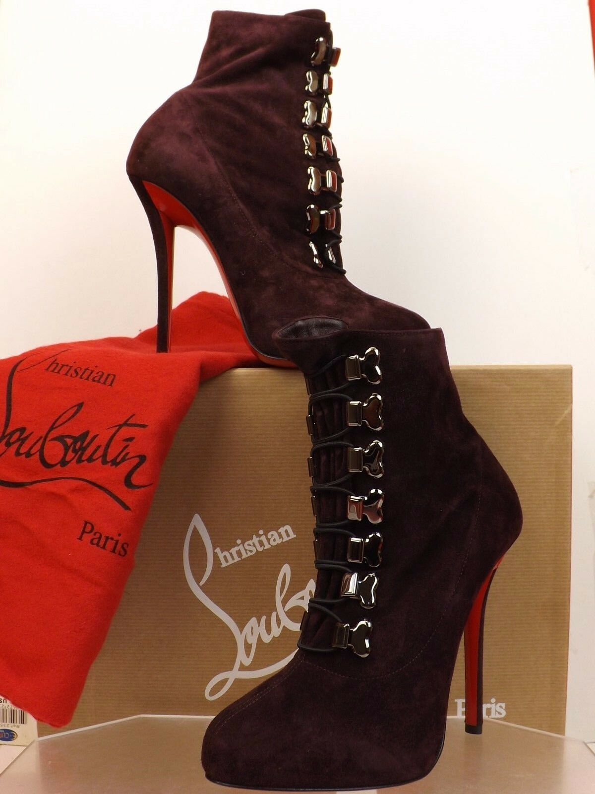 NIB LOUBOUTIN TROOPISTA 120 WINE SUEDE LACE UP ANKLE ANKLE ANKLE BOOTS PUMPS 40.5  1395 4bd8d4