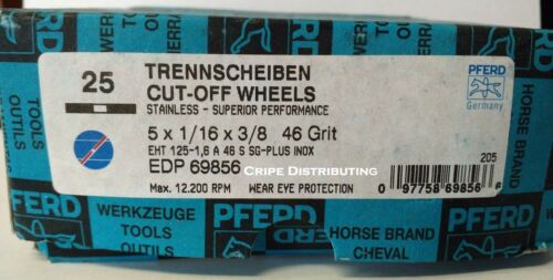 "Pferd EDP69856 5/"" x 1//16/"" x 3//8/"" Stainless Cut Off Wheels 46 Grit 3//8 Arbor 25PK"