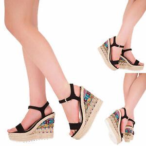 Womens Wedge Heel Espadrille Sandals