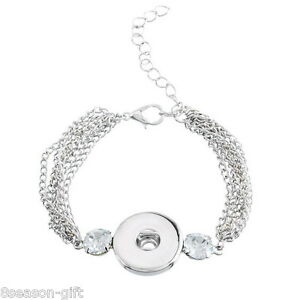 1PC-Snap-Button-Bracelets-White-Imitation-Zircon-Silver-Tone-17cm-HX