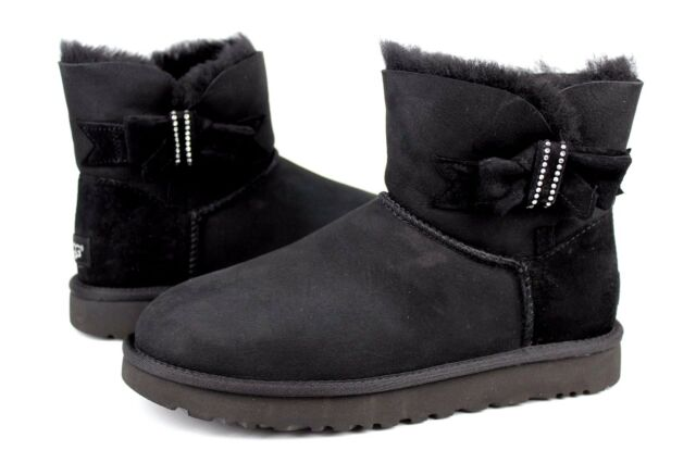 UGG JACKEE KNOT SPARKLE SHEEPSKIN CRYSTALS BOOT BLACK 9 US VERY RARE EXCLUSIVE
