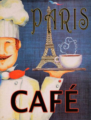 Paris Cafe retro vintage style metal sign//plaque shed bar cafe