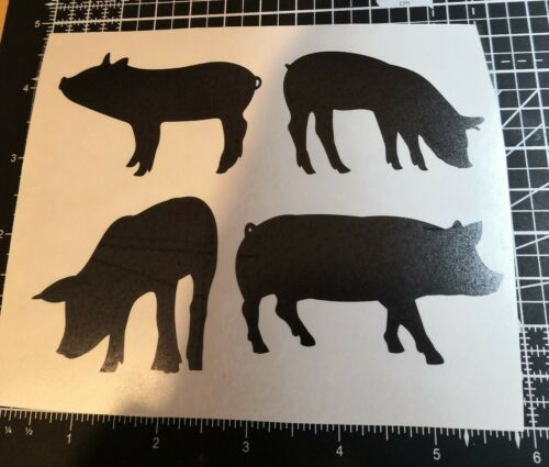 4 pig piglet farm animals vinyl decal stickers wall wine bottle glass craft gift