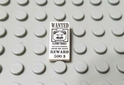 LEGO White 1x2 Tile with Wanted Western Pattern
