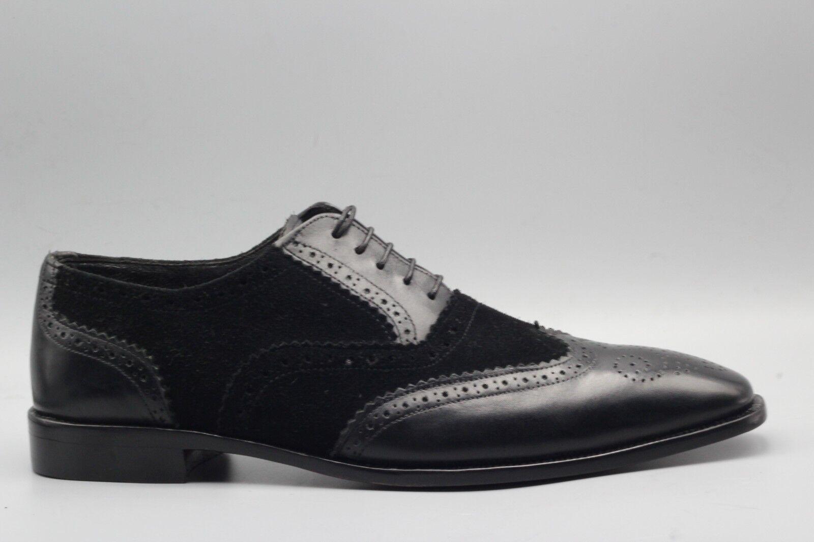 Para hombres Cuero negro dos Tonos Hecho a Mano a Medida & Zapato De Gamuza Oxford Brogue punta del ala