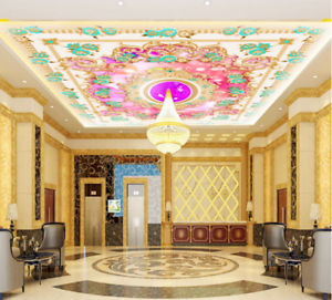 3D Purple Floral 843 Ceiling WallPaper Murals Wall Print Decal Deco AJ WALLPAPER