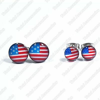USA America Flag Stainless Steel Stud Earrings - Mens Womens Fashion - New