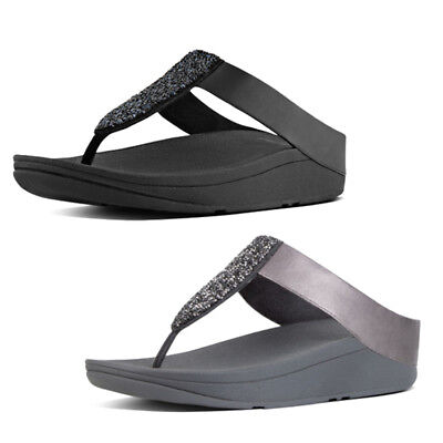 Women/'s Fit Flop Sparklie Crystal Buckle Fastened Wedge Sandals in Black