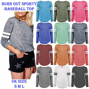 New-Womens-Burn-Out-Stripe-Baseball-Top-Long-Sleeve-Sports-Pullover-T-Shirts