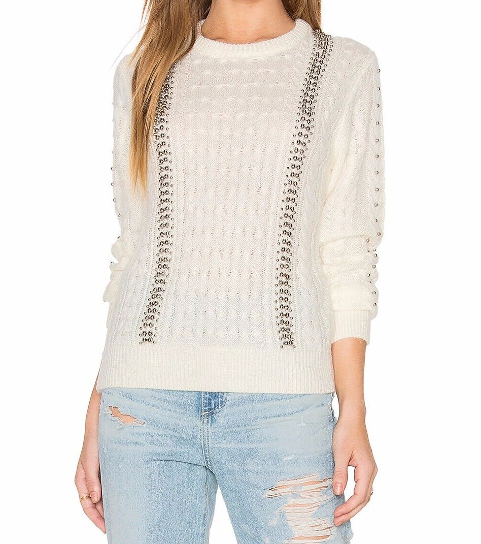 NWOT Endless pink Studded Cable Knit Sweater in White - Size Medium