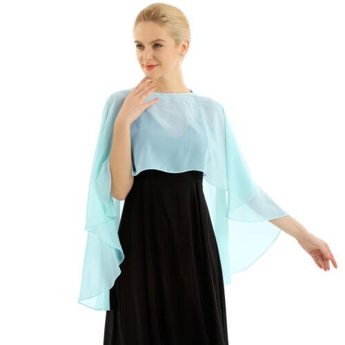 Womens Lace Chiffon High Low Shawl Cropped Bolero Shrug Top Cardigan Capes Wraps