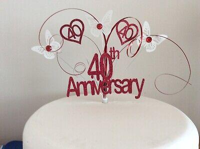 Rubí 40th aniversario de bodas Cake Topper 40 años