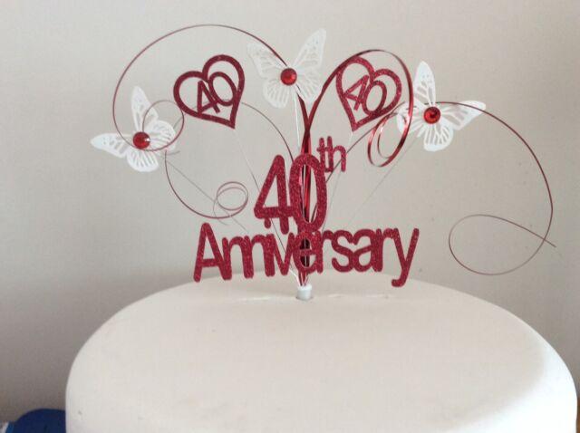 Ruby 40th Wedding Anniversary Cake Topper 40 Years