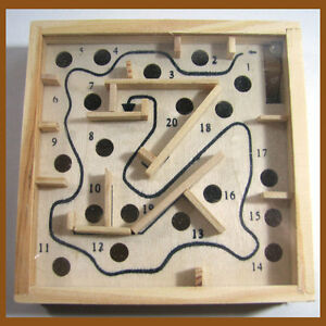 ... Labyrinth Moving Puzzle Game Wooden Tilt Box Toy Physical Skill | eBay