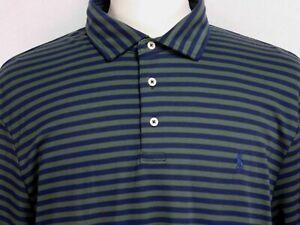 Ralph-Lauren-Mens-sz-2XL-Blue-Green-Striped-Short-Sleeve-Polo-Shirt
