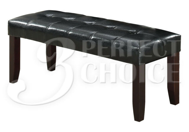 Cool 48L Dining Bench Stool Tufted Black Upholstered Faux Leather Solid Wood Legs Lamtechconsult Wood Chair Design Ideas Lamtechconsultcom