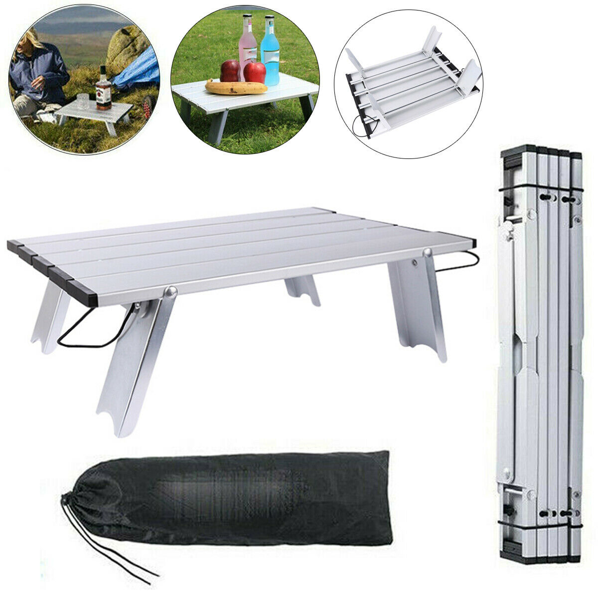 BETTY Tables Outdoor Camping Stainless Steel Foldable Three-Tier Rack Picnic Fishing Grill Multi-Layer Shelf Self-Driving Tour