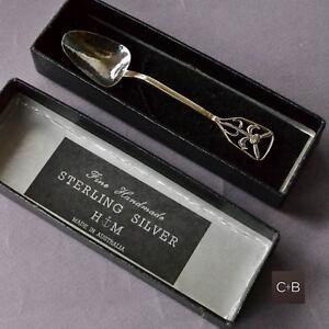 Vintage-H-M-Sterling-Silver-HANDMADE-Teaspoon-THISTLE-Design