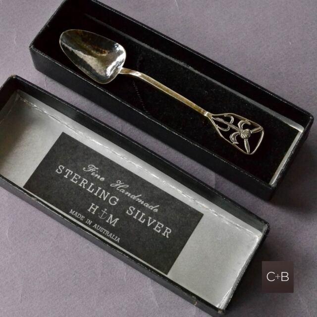 Vintage H M Sterling Silver HANDMADE Teaspoon THISTLE Design