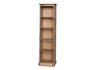 Premium-Quality-Corona-Waxed-Solid-Mexican-Pine-Tall-Narrow-Bookcase-Display