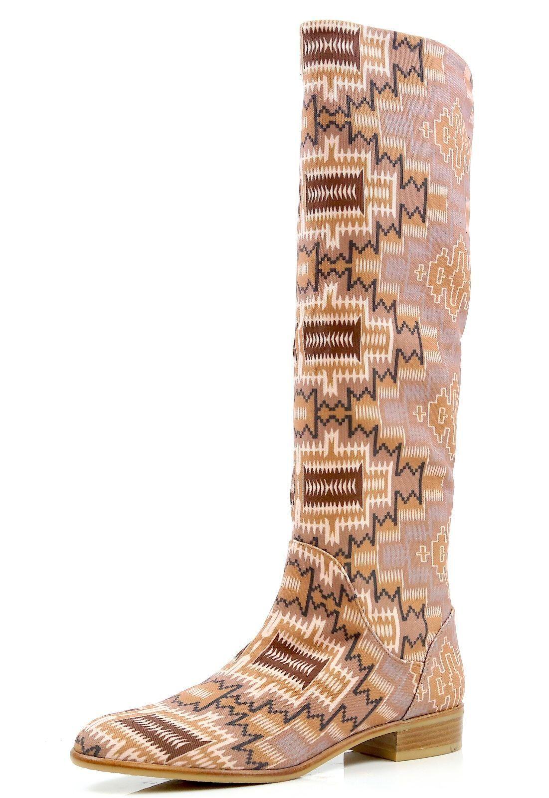 New! Stuart Weitzman 9477 Classique Tan Maya Linen Multi Color Boots Size 8.5 B