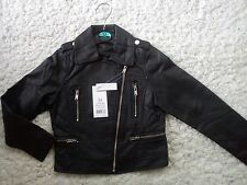 NICE SPRING SUMMER NEW BLACK GIRL FAUX LEATHER JACKET 5/6 YRS