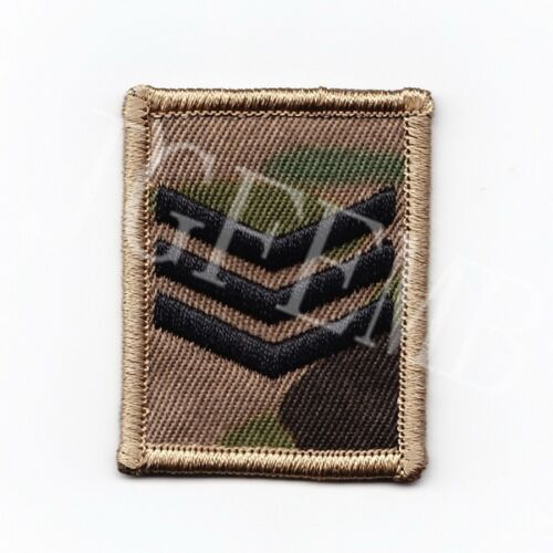 Black design British Army Multicam MTP Rank Embroidery Patch