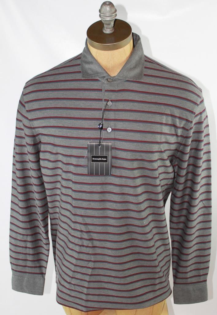 AUTH  Ermenegildo Zegna Men Stripe Polo Shirt 2XL 56