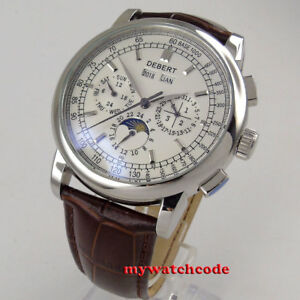 42mm-Debert-Weiss-Zifferblatt-Datum-Tag-Moon-Phase-Multifunktions-Automatik-Herrenuhr-98