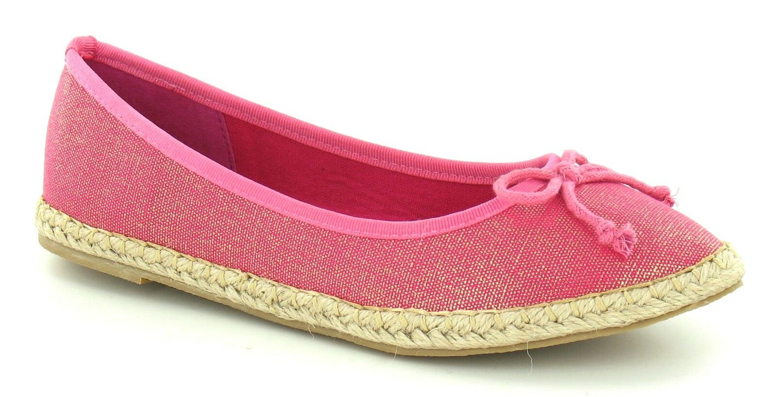 SOLDE Spot On or F2233 femmes Fuchsia / or On brillant effet espadrille chaussures 30c6cd