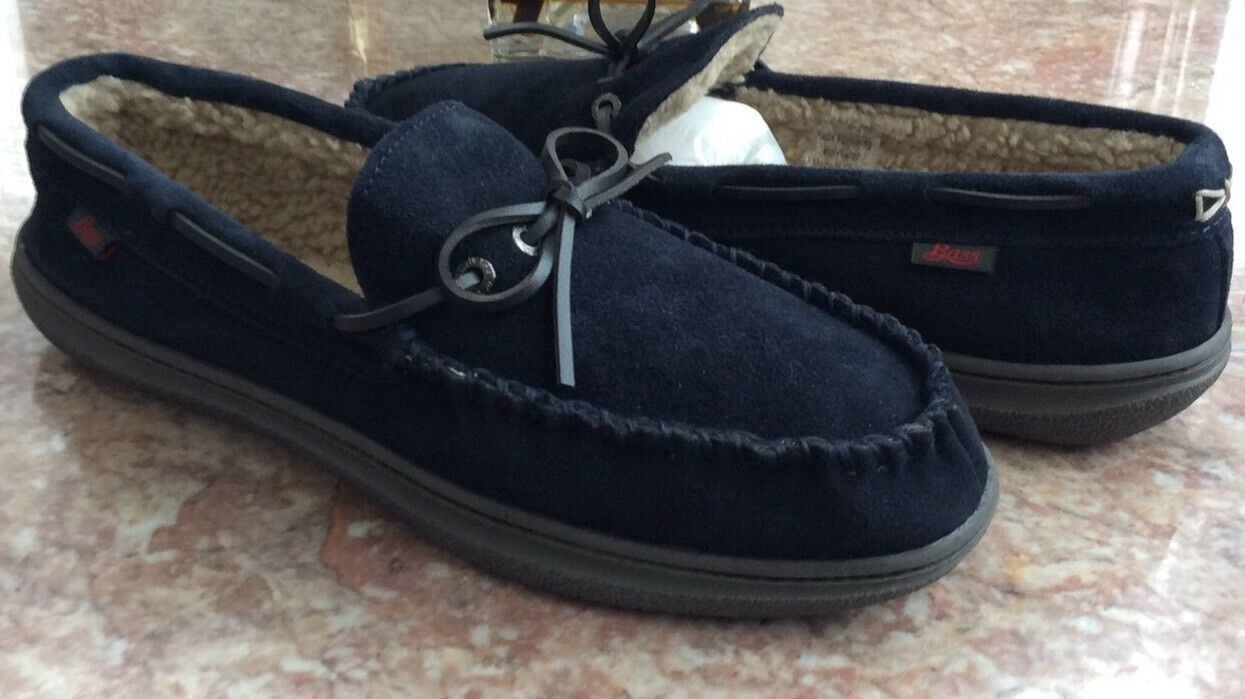 New Bass Mohegan Men's Navy Moccasins Slippers Faux Fur Casual shoes Sz 13 M  65