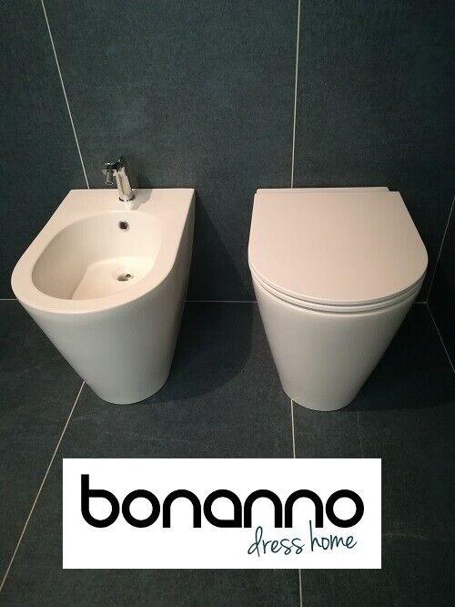 SANITARI SERIE HIDE ROUND DI ALICE CERAMICA WC+BIDET+COPRIWC COL.BIANCO MATT