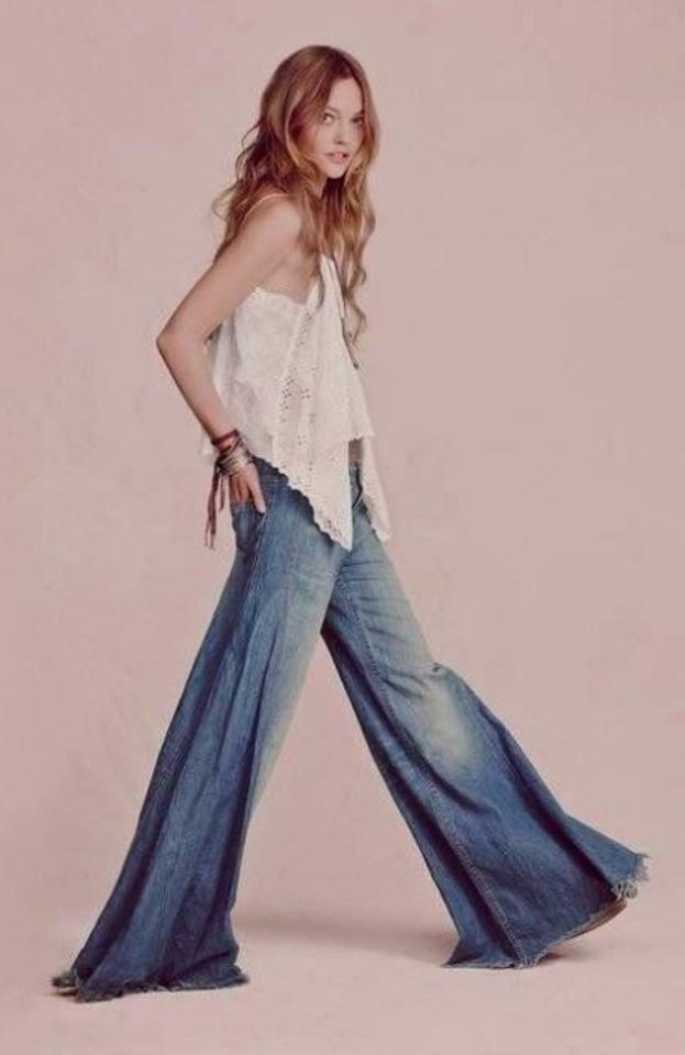 New  148 Free People bluee FP Vintage EXTREME FLARE high waist jeans 27