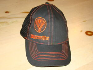 fef057312f8 Image is loading Jagermeister-black-trucker-mesh-golf-fishing-snapback-Hat-