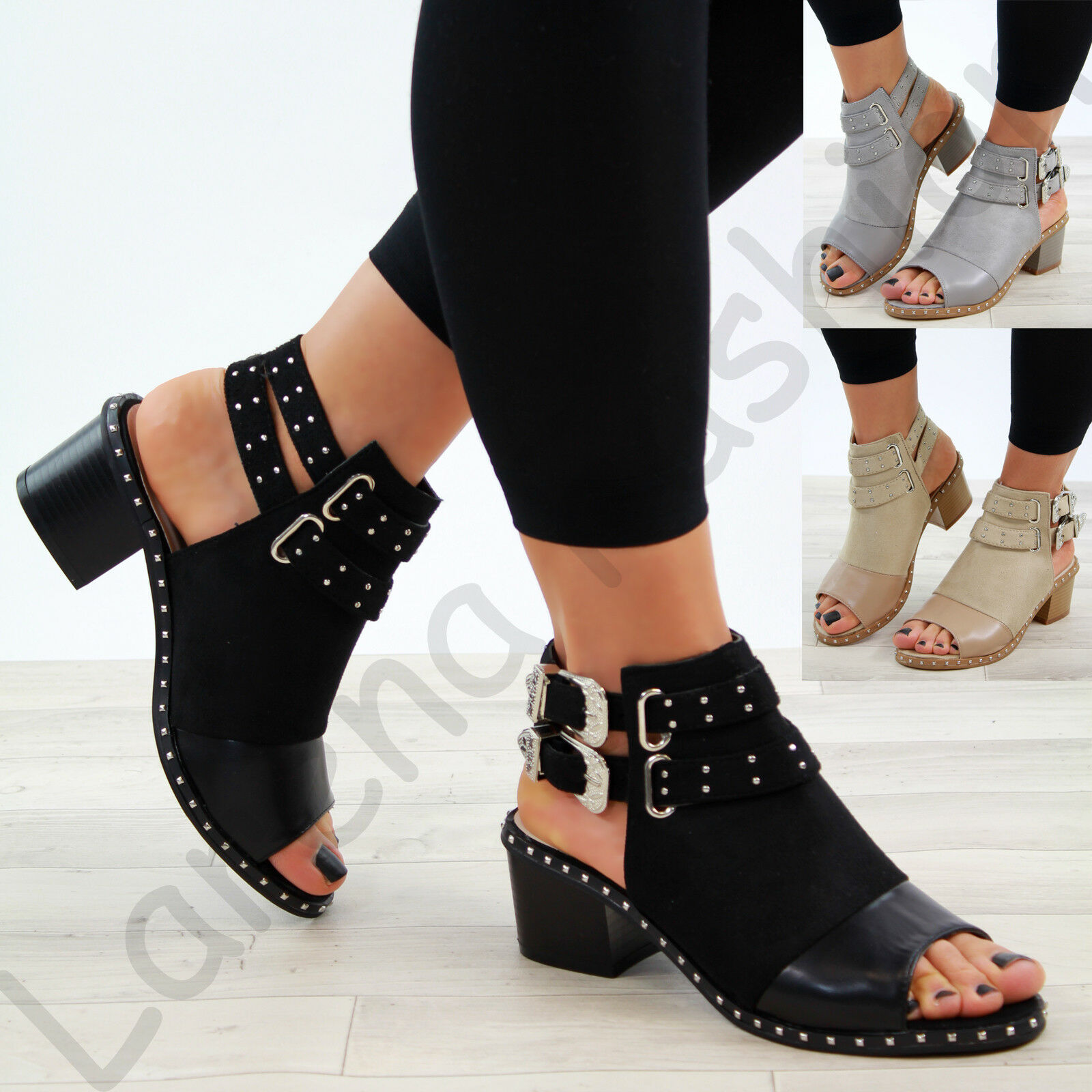Man's/Woman's New Womens Mid Block Toe Heel Sandals Studs Peep Toe Block Buckle Ankle Strap Shoes Sizes Ideal gift for all occasions Skilled manufacturing Preferred boutique HB626 72ff49