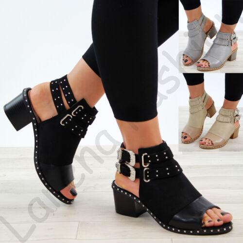 Nouveau Haut Talon Bloc Sandales Clous Bout Ouvert Boucle Cheville Sangle Chaussures Tailles