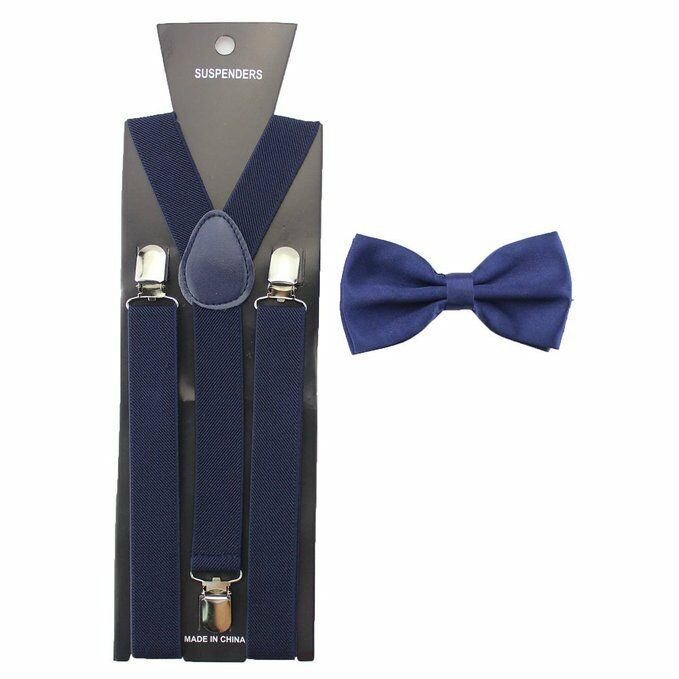 New NAVY BLUE SUSPENDERS And BOWTIE Matching Set Tuxedo Wedding Party
