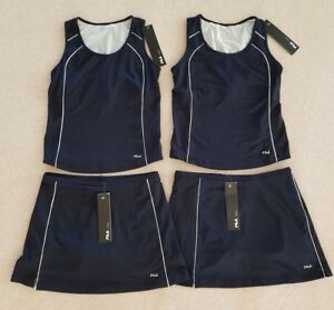 Fila Tennis Sport 2 Bleu Tanks + 2 Bleu Jupes Taille M Neuf Avec étiquettes Usa Au Dos-afficher Le Titre D'origine