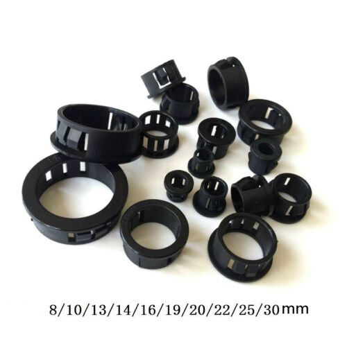 8mm ~ 30mm Black Round Grommet Plastic Plug Bungs Cable Wiring Protect Bushes