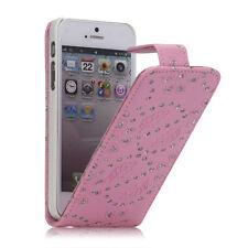Tasche Flip Case Schutz Hülle Cover Etui f Apple Iphone 4 4S ROSA Glitzer IR