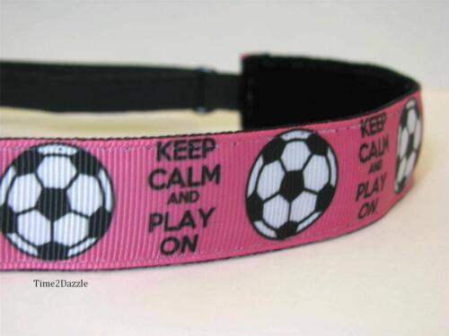 KEEP CALM PINK SOCCER Non slip Headband adjustable Sweaty Sports Hair Bands