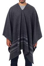 Men's Poncho Alpaca Wool Blend Woven 'Grey Nazca' Handsome Original NOVICA Peru